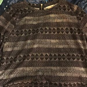 Black, white, and gray patterned sweater